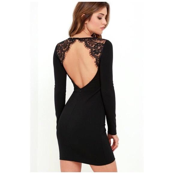 f32e3b74ff1 NWTLulu s long sleeve open back black lace bodycon